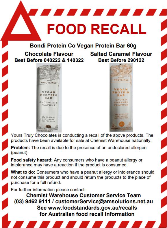 Bondi Protein Co Vegan Protein Bar 60g Recall
