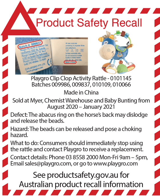 Playgro Product Safety Recall