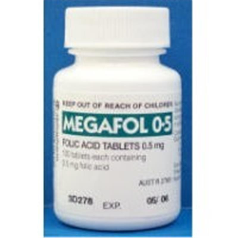 Megafol 0.5mg Folic Acid Tablets 100 at Chemist Warehouse in Campbellfield, VIC | Tuggl