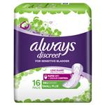 Always Discreet Pad Level 2 Small Plus 16 Pack for Bladder Leaks
