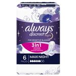 Always Discreet Pad Level 6 Maxi Night 6 Pack for Bladder Leaks