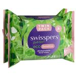 Swisspers Eco Sensitive Biodegradable Facial Wipes Twin Pack 2 x 25 Wipes