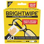 Bright Wipe Lens Cleaning Wipes 60 Pack