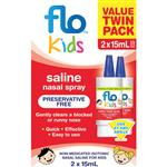Flo Kids Saline Spray Twin Pack 2 x 15ml Exclusive Size