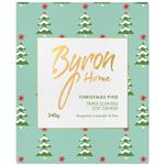 Byron Home Xmas Triple Scented Soy Candle Bergamot Lavender & Pine Limited Edition 240g