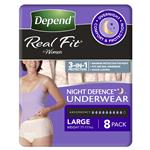 Depend Underwear Realfit Night Defence Female Large 8 Pack
