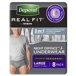 Depend Underwear Realfit Night Defence Male Large 8 Pack