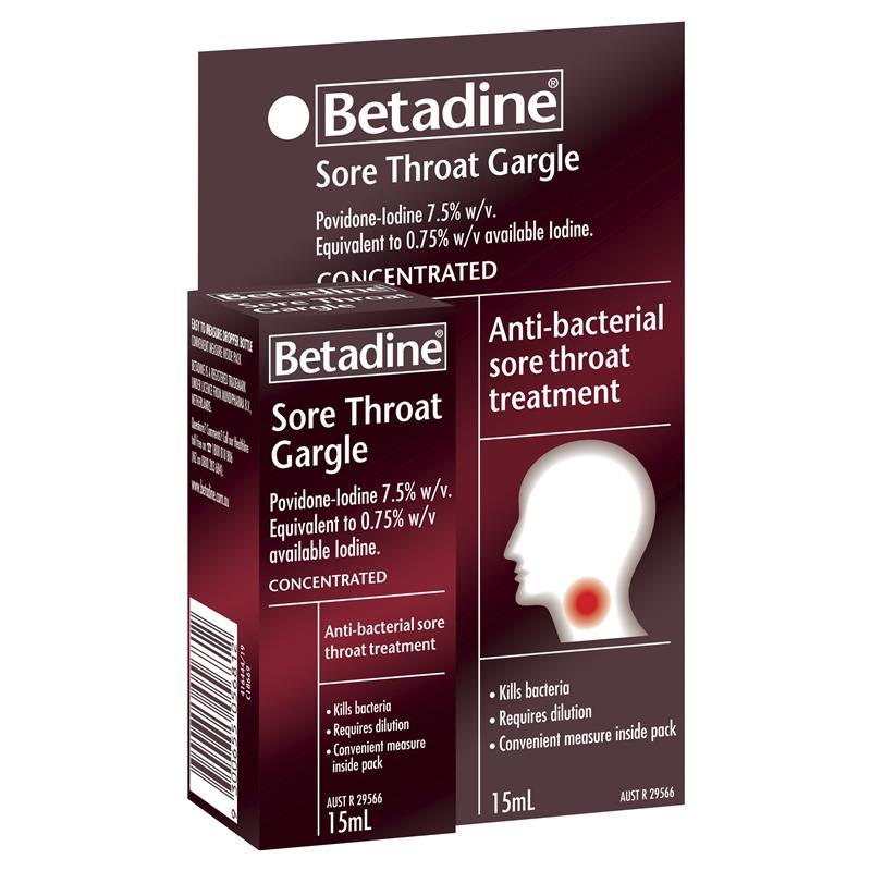 Buy Betadine Sore Throat Gargle 15mL Online at Chemist