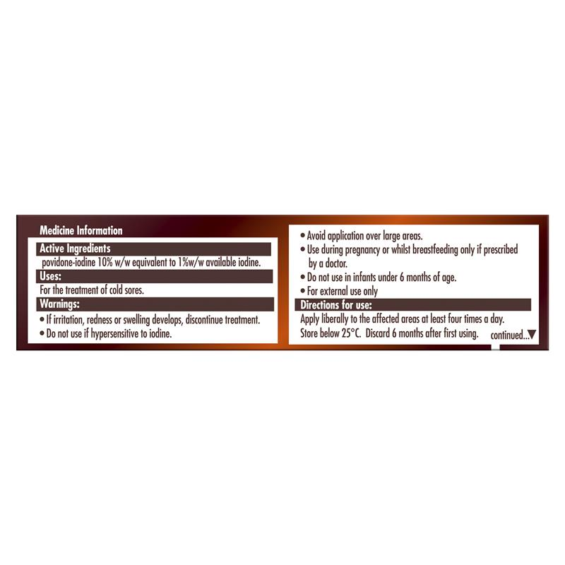 Buy Betadine Cold Sore Ointment 7 5g Online at Chemist