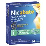 Nicabate Clear Patch Quit Smoking Step 1 21mg 14 Patches (Value Pack)