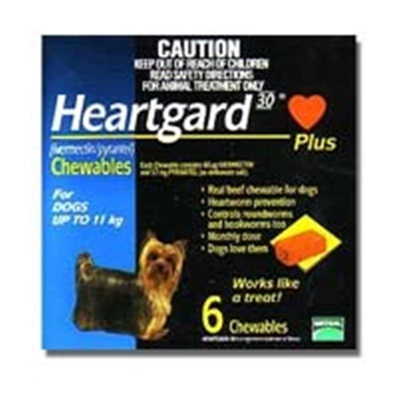 Heartgard Plus Chewable Tablets for Dogs, up to 25 lbs, 6 ...