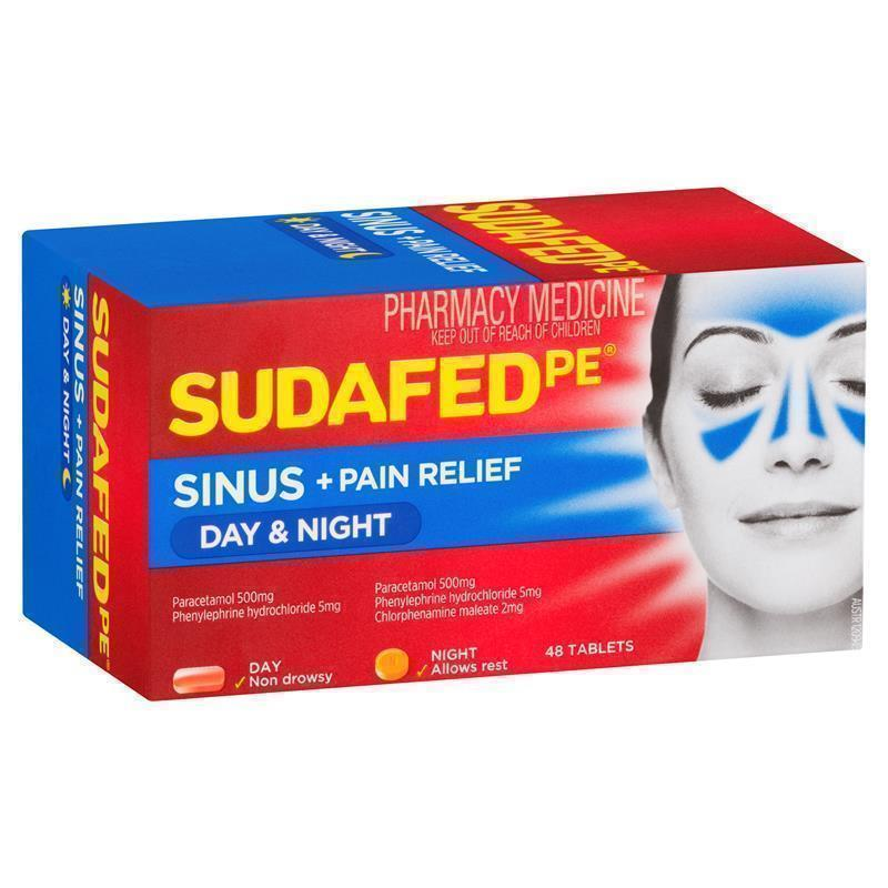 Buy Sudafed PE Sinus Day And Night Relief 48 Tablets
