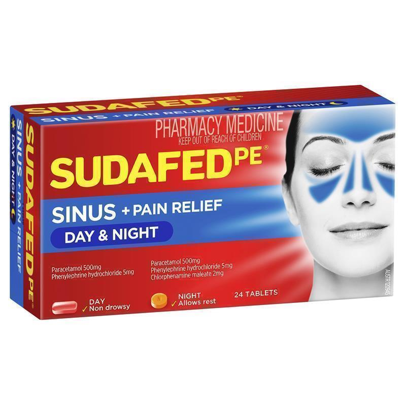 Buy Sudafed PE Sinus Day+Night Relief 24 Tablets Online At