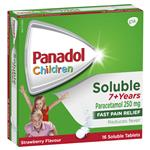 Panadol Children 7+ Years Fever and Pain Relief Soluble Tablets Strawberry 16 Pack