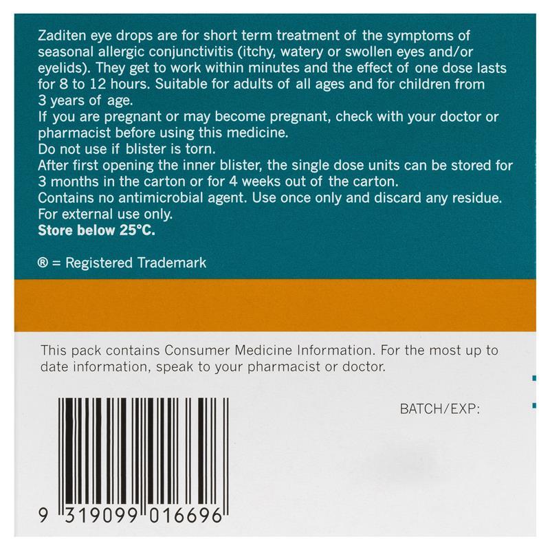 Buy Zaditen 0025 Eye Drops Unit Dose 04ml 20 Single Dose Units