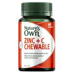 Nature's Own Zinc + C - Contains Vitamin C - 60 Chewable Tablets