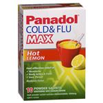 Panadol Cold and Flu Max Hot Lemon 10 Sachets
