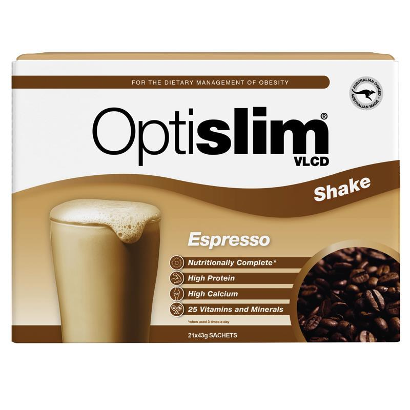 Optislim VLCD Meal Replacement Coffee Shake 21 x 40g Sachets at Chemist Warehouse in Campbellfield, VIC | Tuggl