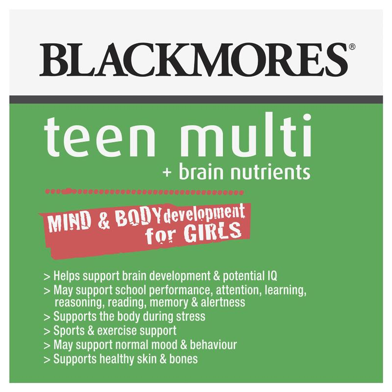Buy Blackmores Teen Multi Brain Nutrients For Girls 60 Capsules
