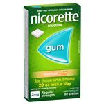 Nicorette Quit Smoking Regular Strength Fresh Fruit Chewing Gum 2mg 30 Pieces