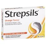 Strepsils Soothing Lozenges Orange 16pk Sore Throat Double Antibacterial