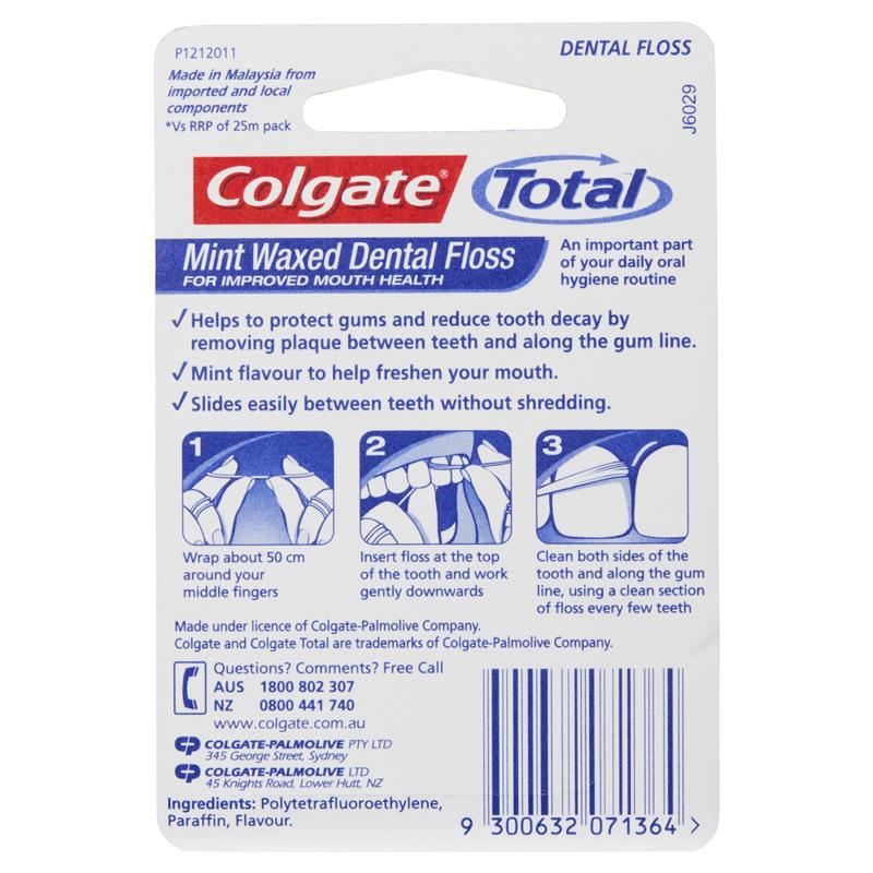 Buy Colgate Total Mint Waxed Durable Oral Care Dental Floss 100m