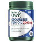 Nature's Own Odourless Fish Oil 2000mg - Source of Omega-3 - 200 Capsules
