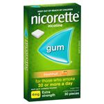 Nicorette Quit Smoking Extra Strength Fresh Fruit Chewing Gum 4mg 30 Pieces