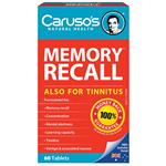 Carusos Natural Health Memory Recall 60 Tablets