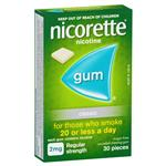 Nicorette Quit Smoking Regular Strength Classic Chewing Gum 2mg 30 Pieces