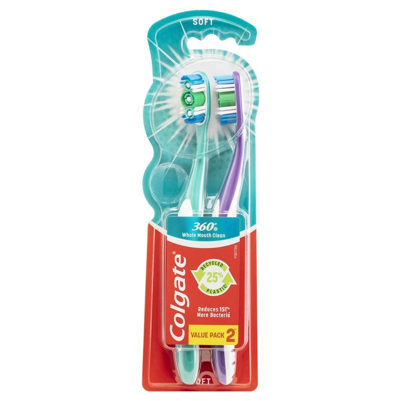 Colgate Toothbrush 360 Degree Soft Twin Pack | Tuggl