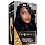 L'Oreal Paris Preference Permanent Hair Colour - 1 Madrid (Intense, fade-defying colour)