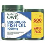 Nature's Own Odourless Fish Oil 1000mg 600 Capsules Exclusive Size