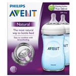 Avent Natural 260ml Feeding Bottle Blue 2 Pack