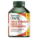 Nature's Own Triple Strength Garlic + C, Horseradish - Contains Vitamin C - 200 Tablets Exclusive Size
