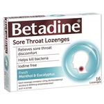 Betadine Sore Throat Lozenges Menthol & Eucalyptus 16