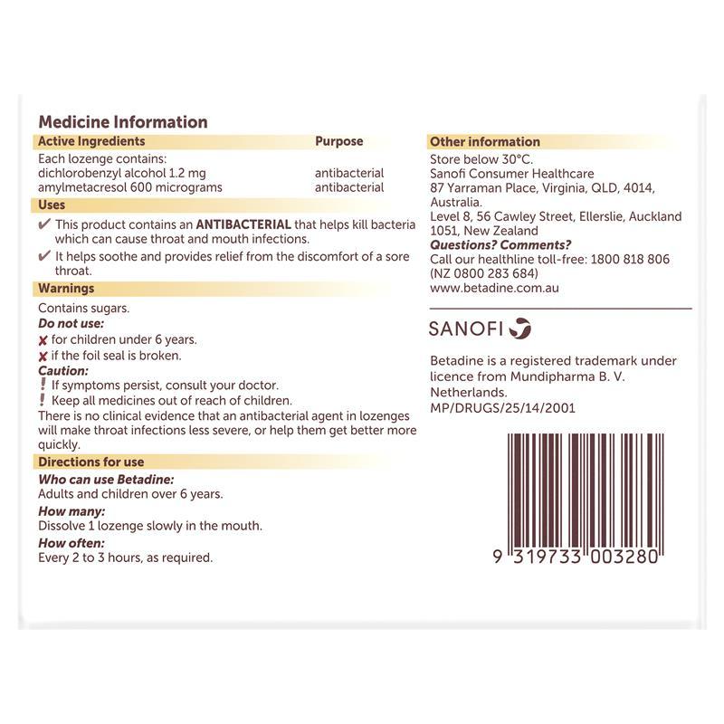 Buy Betadine Sore Throat Lozenges Honey & Lemon 36 Online at