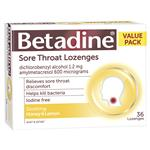 Betadine Sore Throat Lozenges Soothing Honey & Lemon Flavour 36 Pack
