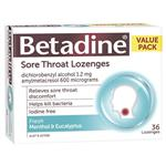 Betadine Sore Throat Lozenges Fresh Menthol & Eucalyptus Flavour 36 Pack