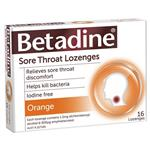 Betadine Sore Throat Lozenges Orange Flavour 16 Pack