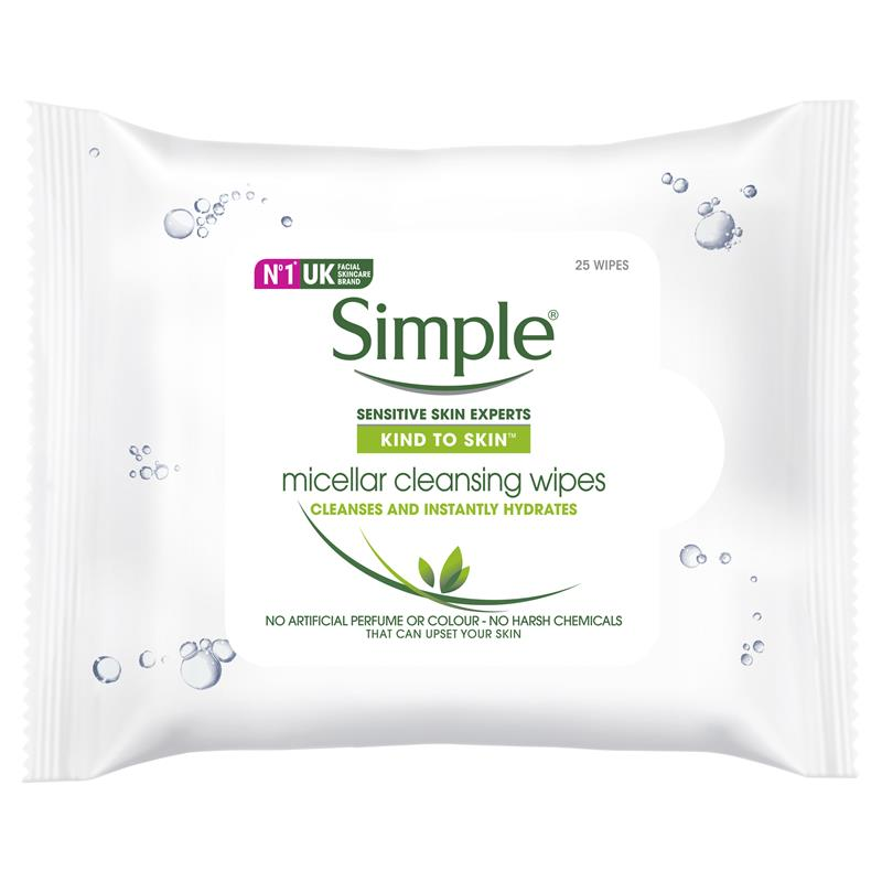 Simple Kind To Skin Facial Wipes Micellar 25 Wipes | Tuggl