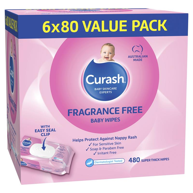 Curash Baby Wipes Fragrance Free 6 X 80 Value Pack at Chemist Warehouse in Campbellfield, VIC | Tuggl