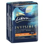Libra Invisible Extra Long Maximum Protection Wings Pads 10 Pack