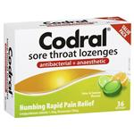 Codral Sore Throat Lozenges Antibacterial + Anaesthetic Lime & Lemon 36 Packn 36 Lozenges