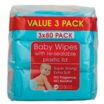 Health & Beauty Baby Wipes 3x80 Pack Plastic Lid
