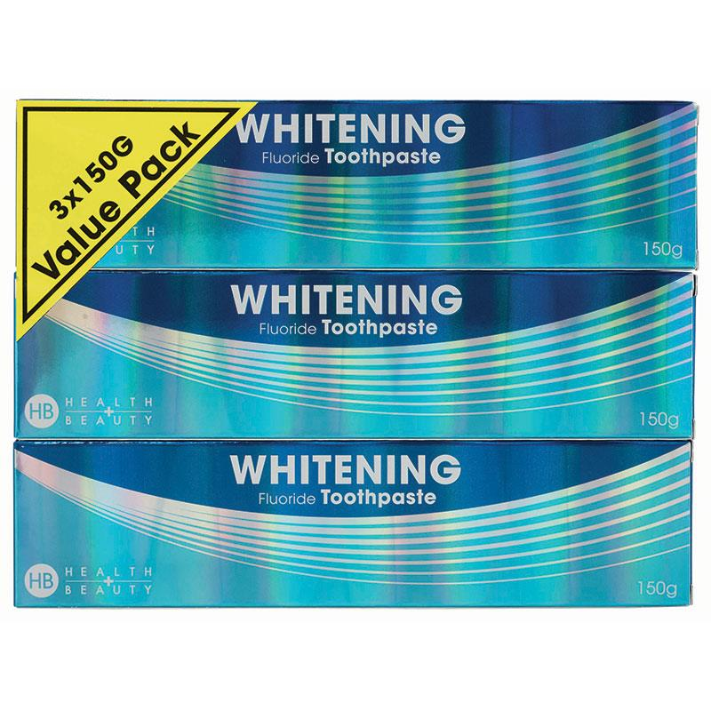 Health & Beauty Toothpaste Whitening with Fluoride 150g 3 Pack at Chemist Warehouse in Campbellfield, VIC | Tuggl