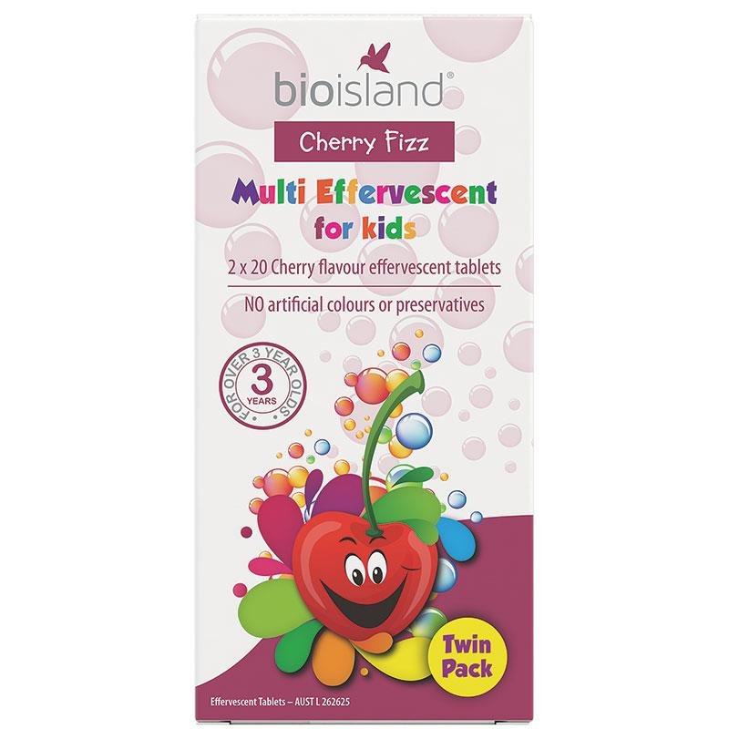 Bio Island Cherry Fizz Multi For Kids Twin Pack 40 Tablets | Tuggl