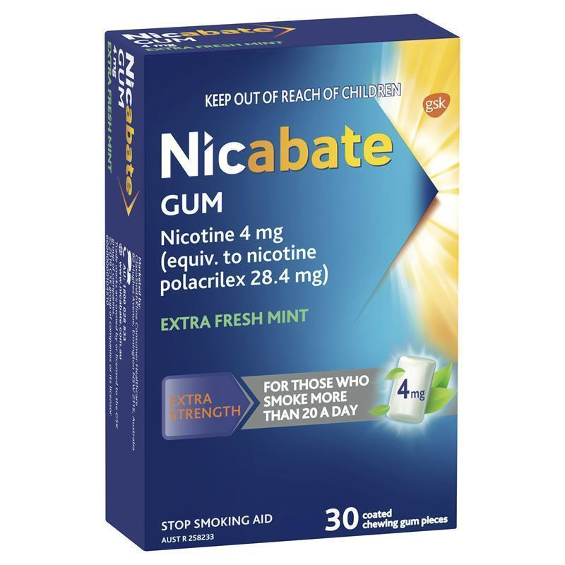 Nicabate Quit Smoking Extra Fresh Mint Gum 4 mg 30 pieces | Tuggl