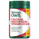 Nature's Own Calcium Magnesium Vitamin D3 + K2 200 Tablets Exclusive Size