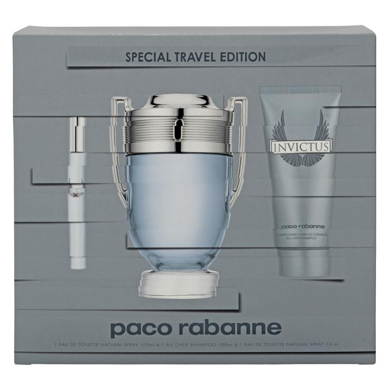 buy paco rabanne invictus 100ml 3 piece set online at. Black Bedroom Furniture Sets. Home Design Ideas